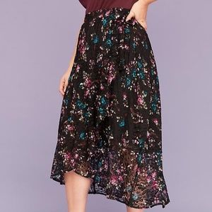 NWT Lace Faux-Wrap High-Low Skirt